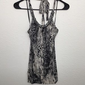 Animal print halter top with metal chain detail